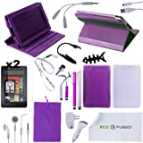 Accessory Combo for Kindle Fire / (Purple) Rotating Leather Case / (Purple) TPU Case / (White) Silicone Case / 5 (Purple and Silver) Stylus Pens / Earphones /Chargers / Screen Protectors / Reading Light for Kindle Fire - ECO-FUSED® Microfiber Cleaning Cloth and Free Lanyard Included - And MORE! (Purple)(does not fit Kindle Fire HD)