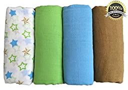 Muslin Swaddle Blankets 4 Pack - 100% Cotton - Seben Baby - 47 inch x 47 inch - Stars