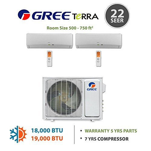 Gree MULTI18BTERRA200 - 18,000 BTU Multi21 Dual-Zone Wall Mounted Mini Split Air Conditioner with Heat Pump 220V (9-9) (Multi Zone Gree Mini Split compare prices)