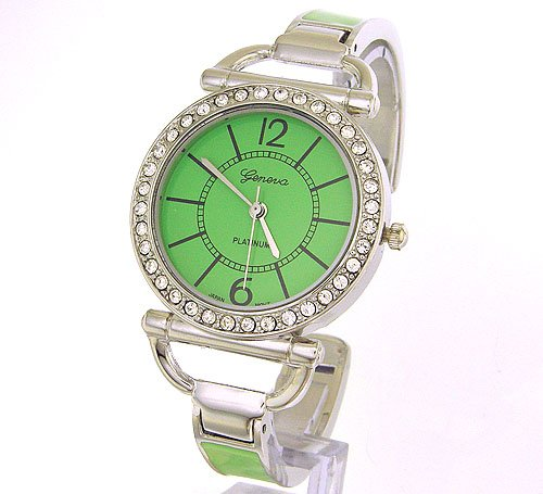 Slim and Classy Silver Ladies Bangle Watch with Crystals and GREEN Enamal Band