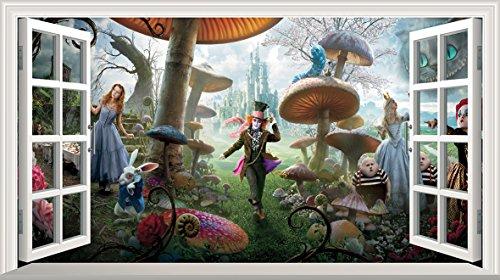 Alice nel paese delle meraviglie, Full Colour Magic-Immagine per finestra-Poster adesivo da parete, misura: 1000 mm x 600 mm (grande)