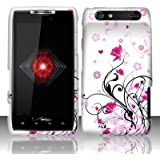 Motorola Droid Razr Xt912 (Verizon) Rubberized Design Cover - Pink Vine