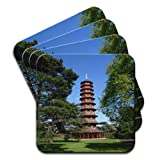 Pagoda In Kew Gardens London Set Of 4 Premium Wooden Coasters