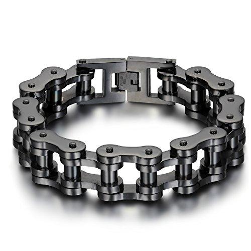 Jewelrywe-Eslabones-de-la-cadena-de-la-pulsera-de-la-joyera-de-los-hombres-de-las-mujeres-de-acero-pulsera-grande-negro
