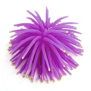 Uxcell Ceramic Base Soft Silicone Aquarium Coral Decoration, Purple