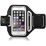 Iphone 6 Sports Armband Phone Holder Case For Gym Exercise Running Cycling Walking Jogging With Key/Credit Card/Money Holder Reflective For Safety Sweatproof And Water Resistant Premium Quality [Enigma Products®] (Black)