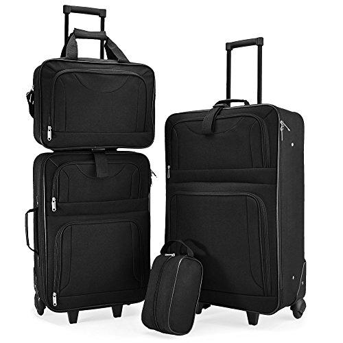 Set di Valigie Trolley nero Serie di 4 valigie in tessuto resistente ... e60e3373ee5