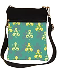 Snoogg Pattern Design In Green Cross Body Tote Bag / Shoulder Sling Carry Bag