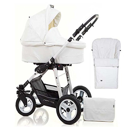 2 in 1 Kinderwagen Neo X3 - Kinderwagen + Sportwagen + Fußsack + GRATIS ZUBEHÖR in Farbe Weiß-Kunstleder