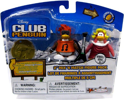 Buy Low Price Jakks Pacific Disney Club Penguin Series 5 Mix 'N Match Mini Figure Pack Ruby & Rockstar [Includes Coin with Code!] (B002WQJINA)