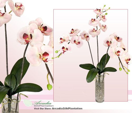 Three 35″ Phalaenopsis Orchid Artificial Silk Flower Bendable Sprays
