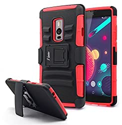 OnePlus 2 Case, OnePlus Two Case, Nagebee - Heavy Duty Hybrid Armor Dual Layer Rhino Kickstand Belt Clip Holster Combo Rugged Case for OnePlus 2 / OnePlus Two (Holster Combo Red)