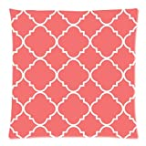 Custom Coral Quatrefoil Pattern Throw Pillow Case Cushion Cover 20x20 Inch - Twin Sides Printing