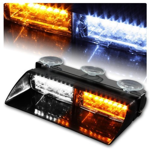 Aurnoc 16 LED High Intensity LED Law Enforcement Emergency Hazard Warning Strobe Lights 18 Modes for Interior Roof / Dash / Windshield with Suction Cups Amber,White,Amber-White,Red,BLue,Red-Blue (Ambe