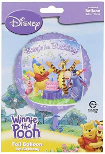 "Anagram International Pooh and Friends 1st Birthday Foil Balloon Pack, 18"", Multicolor"