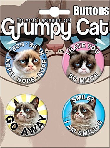 Ata-Boy Grumpy Cat Assortment #3 4 Button Set