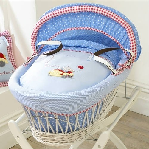 Izziwotnot Humphrey's Corner Little Red Car Wicker Moses Basket, White