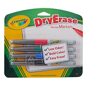 Crayola 4CT Dry Erase Markers Fine Line Bullet Tip