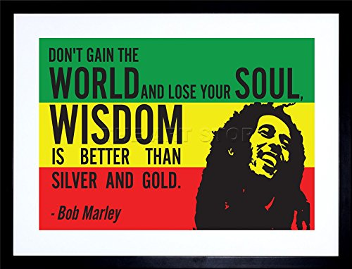 9x7 INCH BOB MARLEY RASTA GAIN WORLD WISDOM SOUL GOLD QUOTE TYPOGRAPHY FRAMED WALL ART PRINT PICTURE PAINTING WOODEN PHOTO FRAME BLACK WHITE OAK BROWN F97X205 (Bob Marley Painting compare prices)