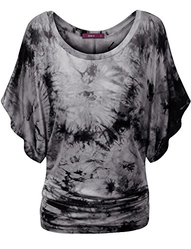Doublju Women V Neck Jersey Soft Fabric BLACK T shirt,S