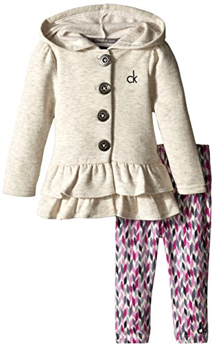 Calvin Klein Baby Girls' Cream Jacket with Animal Print Pants, Cream, 12 Months