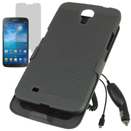 Aimo Wireless Hard Cover Combo Case Holster For At&T Samsung Galaxy Mega 6.3 + Lcd + Car Charger -Black