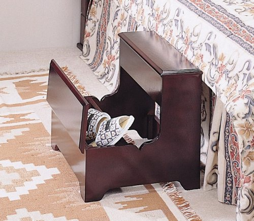 Cherry finish wood bedroom step stool with storage