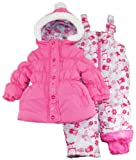 Pink Platinum Girls Strawberry Snowsuit with Owl Print Pants Set 12M 18M 24M