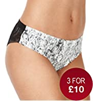 No VPL Rear Floral Lace & Animal Print Brazilian Knickers