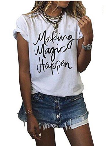 Da donna estate Street stampato Tops Funny Juniors T Shirt manica corta Tee white1 Small