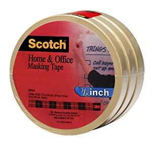 Scotch(R) Home and Office Masking Tape 3436-3, 3/4-inch x 60 Yards, 3 Pack