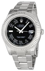 Rolex Datejust II Black Dial Stainless Steel Mens Watch 16334BKRO