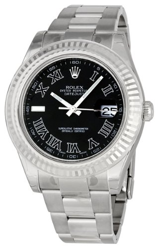 Rolex Datejust II Black Dial Stainless Steel Mens Watch 16334BKRO