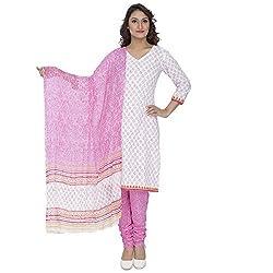 Pinkshink White Pure Cotton Salwar Kameez Dress Material k64