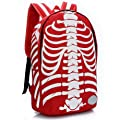 Tinksky® Casual Canvas Skeletons Backpack Bag for School (Red/White) by Tinksky