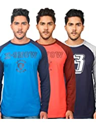 TEKKI BLUE-ORANGE-NAVY PACK OF 3 RAGLAN FULL SLEEVE T SHIRTS