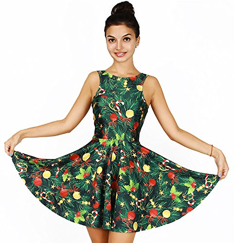 Cute Christmas Tree Print Tank Dress Sleeveless Pleated Skater Skirt Costume