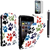 FORAPPLE IPHONE 4 4S MULTI COLOUR ANIMAL PAW DOG FOOT CAT FOOT PRINT LEATHER FLIP CASE COVER POUCH