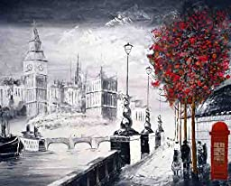 A Brilliant City of London Canvas Print, Popular London Embankment Street Scene, Canvas Giclee Art Print, Hot London Design, Romantic London City Walkway Allong the Thames with View of the Big-ben, Iconic London Printed Artwork, London Theme Black White R