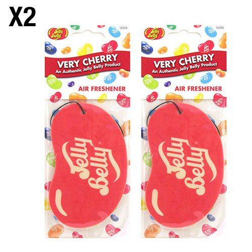 Jelly Belly Very Cherry Flavour 2D Hanging Car / Office Air Freshener - 2 Pack (Twin Pack)