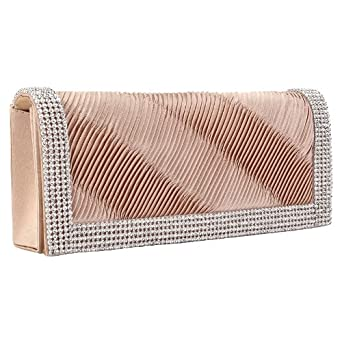 Womens Champagne Gold Diamante Trim Ladies Medium Ruched Fold Over Evening Clutch Handbag Bag