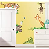 In The Jungle Wildlife Animal Stickers Wall Decals Children Bedroom Decor