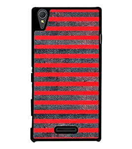 Red Lines Pattern 2D Hard Polycarbonate Designer Back Case Cover for Sony Xperia T3