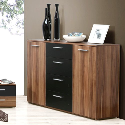sideboard schwarz walnuss angebote. Black Bedroom Furniture Sets. Home Design Ideas