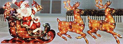 Christmas 5ft Lighted Holographic Santa Sleigh with Reindeer Yard Decoration with 150 Lights