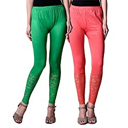 NumBrave Peach,Green Viscose Net Legging (Combo of 2)
