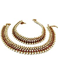 Glittering World Designer Brown Stone And Pearl Alloy Crystal Anklets For Women