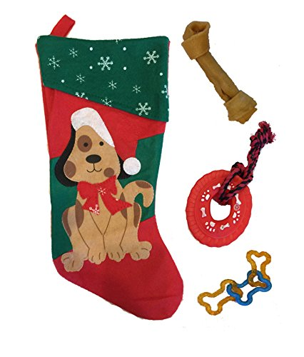 ... Stocking Set with Tug Toy, Porkhide Bone, Squeak Toy 4 Piece Bundle