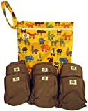 Pandaroos Charcoal Bamboo 5-Layer Cloth Diaper Insert Liners with Gusseted Legs (Set of 6) and Printed Diaper Wet Bag