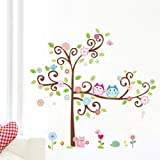 1 X Colorful Flower And Owls On The Tree Cartoon Wall Decor Sticker, Removable Decals For Kids Room Decoration, For Living Room